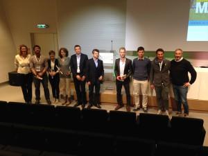 L'assessore e il presidente di FEM Andrea Segrè con gli studenti premiati